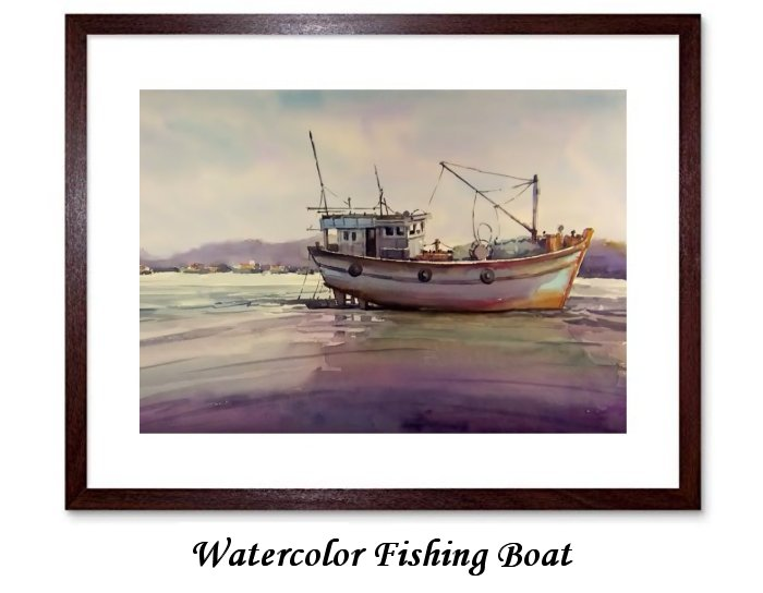 Watercolor Fishing Boat