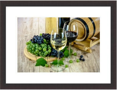 Two Types Of Wine White Wine Glass Grapes Bottle
