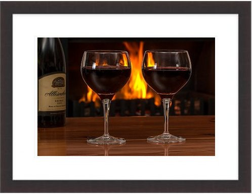 Red Wine Glasses Log Fire Red Wine Alcohol Drink